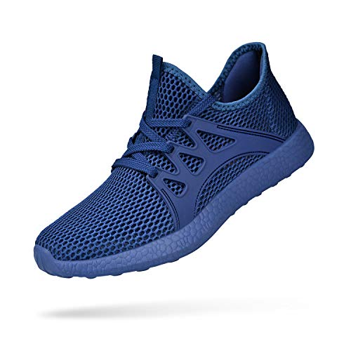 a8405193417ae QANSI Mens Boys Sneakers Athletic Running Sports Shoes Ultra Lightweight  Breathable Gym Shoes Blue 8