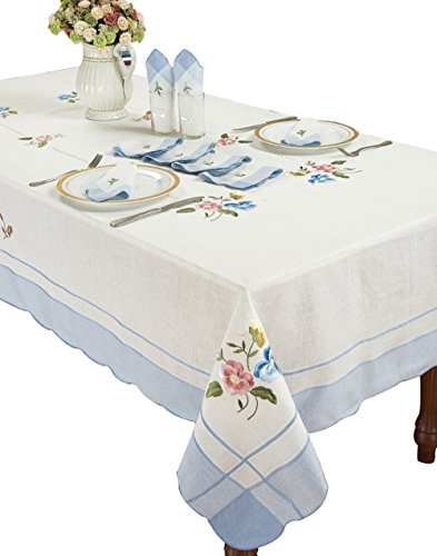 Simhomsen White Oblong Floral Lace Linen Tablecloth Embroidered and Hemstitched (Rectangle 60 by 90 Inch, Blue Sided)