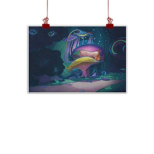 (Sunset glow Fabric Cloth Rolled Mushroom,Big Magical Plant in Fairytale Forest at Midnight Children Book Design Wonderland, Multicolor 48