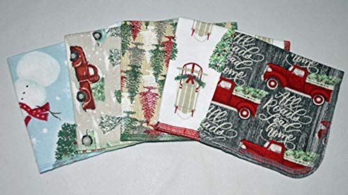 1 Ply Holiday Joy Washable Napkins 12x12 inches 5 Pack - Little Wipes (R) Flannel