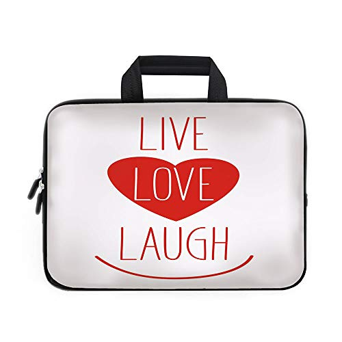 Icon Wheeled Computer Bag (Live Laugh Love Decor Laptop Carrying Bag Sleeve,Neoprene Sleeve Case/Way of Life Style Heart Icon with Smiling Form and Phrase Artsy Design Decorative/for Apple Macbook Air Samsung Google Acer HP DEL)