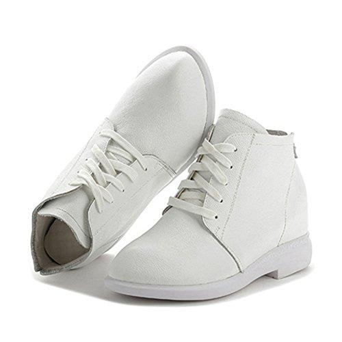 Giy Damesmode Hoge Top Veters Sneaker Platform Verhoogde Hoogte Casual Wedge Schoenen Wit