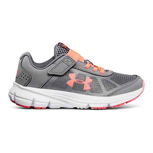 Under Armour Girls' Pre School Rave 2 Adjustable Closure Sneaker, Zinc Gray (100)/Brilliance, 1 by Under Armour