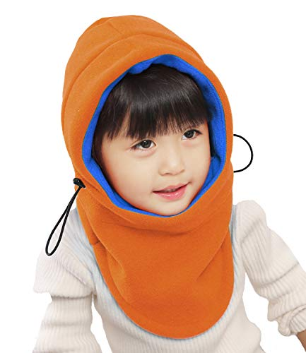 Kids Winter Windproof Cap,Children's Double Warm Balaclava Face Mask for Cold Weather,Neck Warmer,Adjustable Full Face Cover Hat for Boys Girls,Perfect for Skiing,Cycling(Orange+Blue)