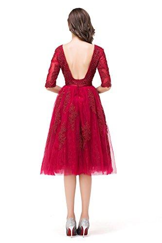 Cocktailkleid 40 2017 MisShow® Wein Ballkleid Knielang V Ausschinitt Rückenfrei Damen Abendkleid Rot wwqpZzP