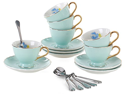 Jusalpha Fine China Tea Cup and Saucer Coffee Cup Set with Saucer and Spoon Set of 6 (FD-TCS02 blue (6), 7oz)