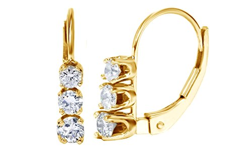 Round Brilliant Cut Diamond Earrings Three Stone 14k Solid Yellow Gold (.50 cttw) ()
