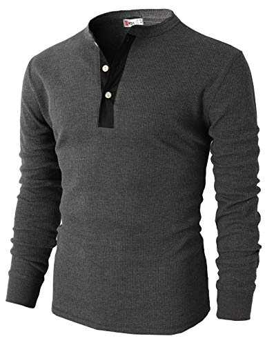 H2H Mens Casual Slim Fit Raglan Baseball Three-Quarter Sleeve Henley T-Shirts Charcoal US M/Asia L (CMTTL045)