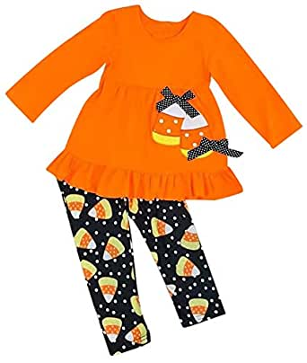 Kids Baby Girls Christams Cartoon Reindeer Long Sleeve Shirt Dress Stripe Pants Xmas Gift Set (2-3Years/Tag100, Orange)