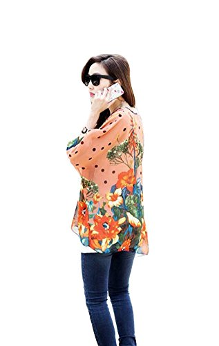 Larga Chiffon Blusa Casual Stampa Elegante T Maglia shirt Taglie 35 Boho Camicia Forti Donna Camicetta Chuangminghangqi CpYwX1qp