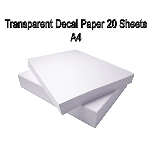 DAHLIA Waterslide Decal Transfer Paper, 20 Sheets, DIY A4 Inkjet Transparent Clear for Inkjet - Transparent Decals