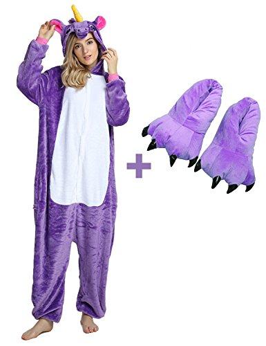 Unisex Unicorn Onesie Pajamas Animal Costume Sleepwear with Monster Slipper Paws Shoes (Purple -