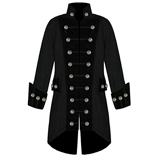 Men's Steampunk Vintage Tailcoat Jacket Gothic Victorian Frock Uniform Costume (M, Black)