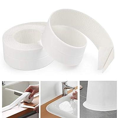 AurGun Caulk Strip PE Self-Adhesive Waterproof Sealing Tape Decorative Sealant Trim for Kitchen Bathroom Tub Shower Floor Wall Edge Protector- (White, 131.8x1.5 Inches)