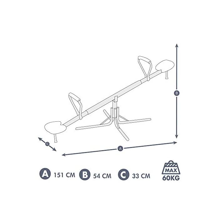 41MBXXOqOEL Balancín Aktive Sports recomendado para niños mayores de 3 años, adecuado para instlar al aire libre, usar bajo la supervisión de un adulto Medidas, balancín: 151 cm de ancho x 54 cm de profundidad x 33 cm de alto; asientos: 21x21x4 cm, soporta un peso máximo de 60 kg Estable y duradero, estructura de aluminio resistente con 4 patas de 55x55x35 cm para mayor estabilidad y asientos de PVC robustos con protección UV