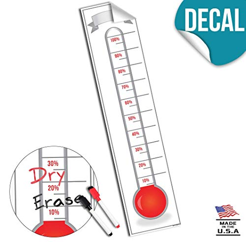 Fundraising Thermometer Goal Setting Chart - Dry Erase Reusable Fundraiser Tracker for Goals Adhesive Decal - 48x11