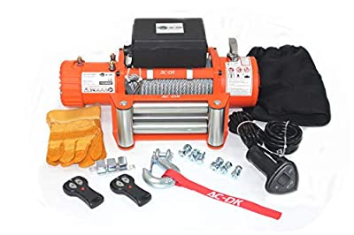 AC-DK 9500lbs to 13500lbs Electric Winch Water Proof IP67 Recovery Winch 12V DC Orange Color Come with Overload Protection, Winch Dust Cover and 2 Wireless Remotes (13500lbs with Steel Rope)