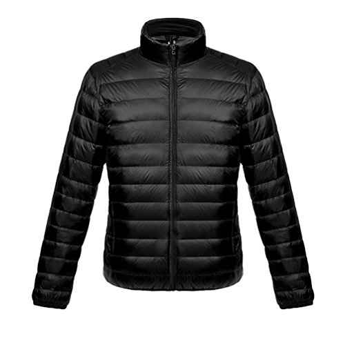 LvRao Men's Quilted Ultralight Down Coats Stand Collar Winter Parka Elegant Puffy Thicken Jackets Black