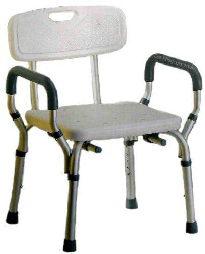 PREMIUM Duschstuhl - abnehmbare Weichschaumarmlehnen und Rückenlehne Badstuhl 5 fach höhenverstellbar