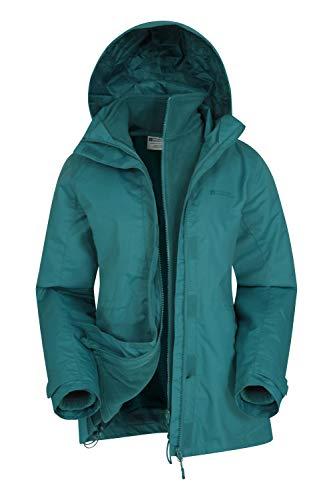 Mountain Warehouse Fell Womens 3 in 1 Jacket -Water Resistant Rain Jacket, Adjustable Hood Ladies Winter Triclimate…