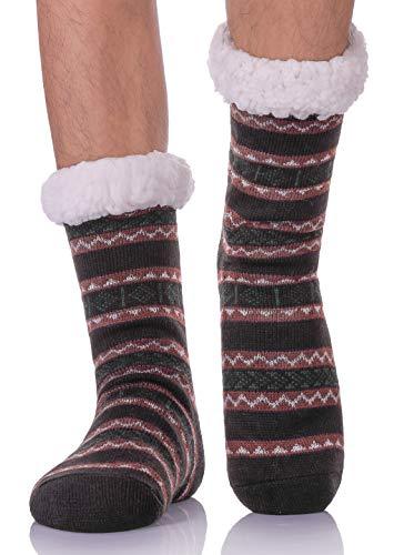 LANLEO Men's Fuzzy Ripple Slipper Socks Super Soft Warm Fleece Lining Knit Non Slip Winter Socks Black (Sherpa Men Socks)