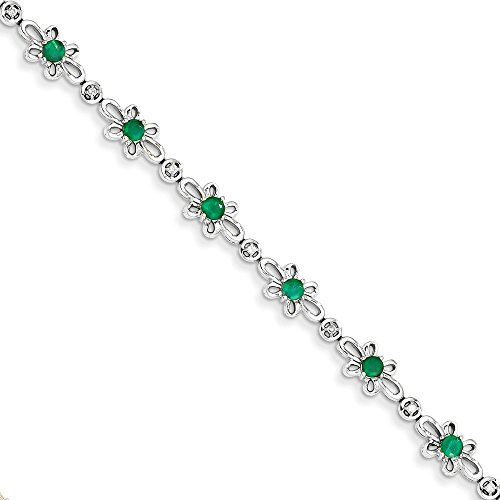 Solid 14k White Gold Diamond and Simulated Emerald Flower Bracelet - with Secure Lobster Lock Clasp (1/10 cttw) 7