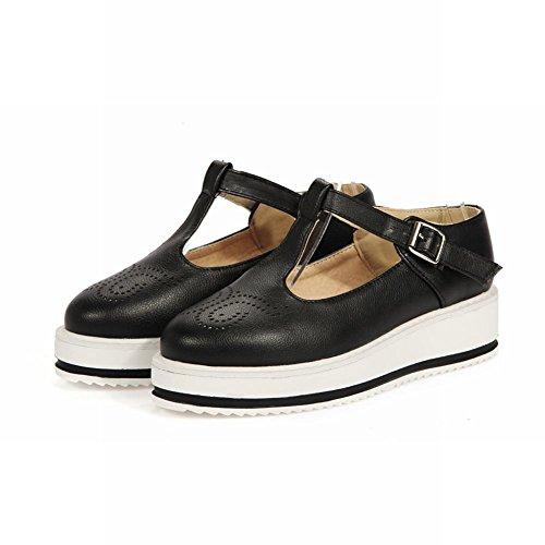 Charm Foot Womens Preppy Style T Strap Scarpe Piattaforma Casual Nere