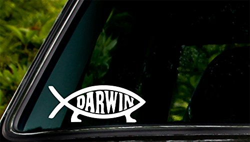 Darwin Bumper Sticker - Apex Imports Darwin Fish Sign Decal Sticker Evolution Laptop Vinyl Decal White Decal 5