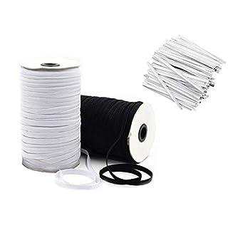 Elastic Bands for Sewing 1/4 inch for Maks, Elastic String for Masks, 10 YD Black, 10 YD White with 40 Nose Bridge Strips, DIY Face Mask