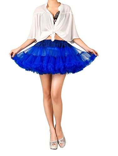 Edith qi Women's Tutu Costume Shimmer Petticoat Princess Multi-Layer Puff Skirt RoyalBlue