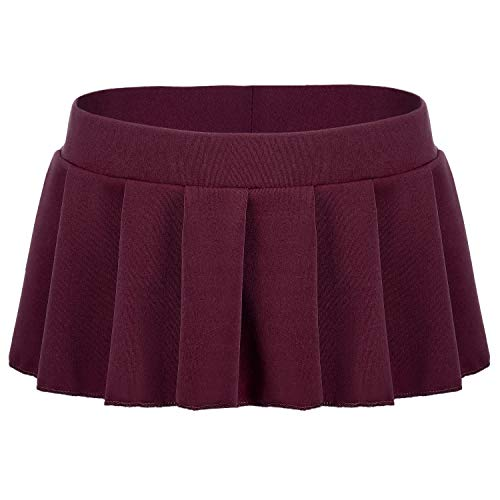 Avidlove Women Sexy Role Play Pleated Mini Skirt Ruffle Lingerie for Schoolgirl Wine Red