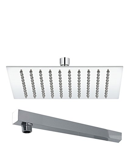 Kitsch  trade;  Ultra Thin SS Square 300mm 12 quot;X12 quot; Approx  Hi Gloss Mirror Polish Chrome Rain Shower Head with 600mm 24 quot;  Approx Square