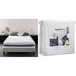 Zinus 10 Inch Gel-Infused Memory Foam Hybrid Mattress, Queen with AmazonBasics Hypoallergenic Vinyl-Free Waterproof Mattress Protector, Queen