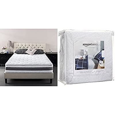 Zinus 10 Inch Gel-Infused Memory Foam Hybrid Mattress, Queen with AmazonBasics Hypoallergenic Vinyl-Free Waterproof Mattress Protector, Queen