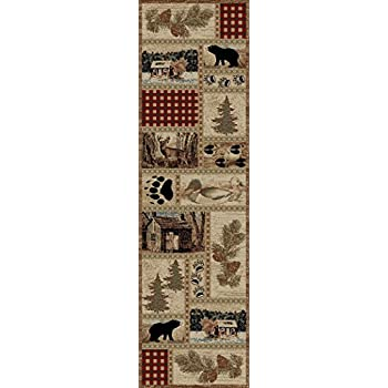 Rustic Lodge Forest Cabin 2x8 Area Rug, 2'3x7'7