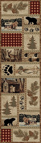 - Rustic Lodge Forest Cabin 2x8 Area Rug, 2'3x7'7
