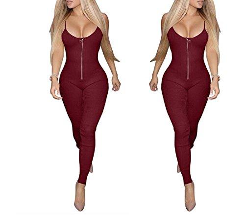 Solide Rompers Noir Couleur Jumpsuit Bandage Taille XIAOXAIO Pantalon Couleur Rouge XL Rouge Femmes Sling TwtdT0