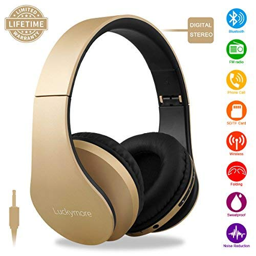 Wireless Bluetooth Headphone Over Ear, Headphones with Mic Noise Cancelling FM Radio Headsets, Sports Foldable USB Wired Earphone for kids Girls Women iphone (Gold) by Kindak