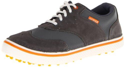 (crocs Men's Preston Golf Shoe,Charcoal/Pumpkin,8 M)