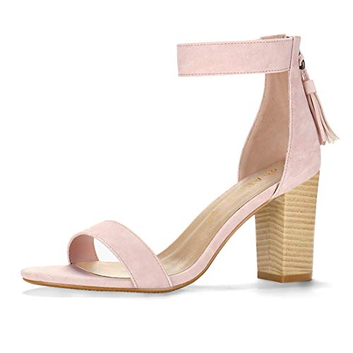 (Allegra K Women's Tassel Stacked Heel Ankle Strap Sandals (Size US 8.5) Light Pink)