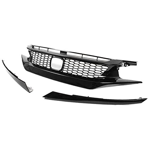 ZMAUTOPARTS 2016-2017 Honda Civic 4DR Honeycomb Style Front Upper Hood Grille w/Eyebrows Gloss (Honda Civic 4dr Grille)