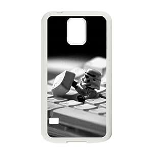 Samsung Galaxy S5 Cell Phone Case White Storm Trooper Starwars Keyboard Film FXS_555921
