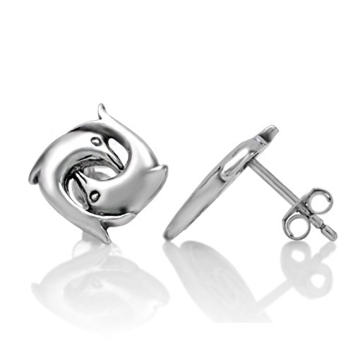 925 Sterling Silver Tiny Double Dolphins Porpoise Post Stud Earrings Dolphins Silver Earrings