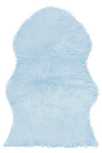 ShawsDirect Faux Sheepskin Fur Floor Area Rug, 60cm x 90cm (Blue)