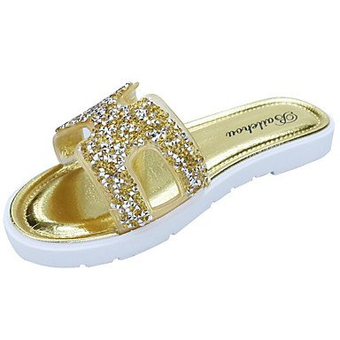 FSCHOOLY Womens Zapatos Pu Confort Primavera Verano Sandalias Planas Para Talón Plata Casual Champán Champagne
