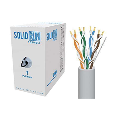SolidRun by Sewell, Cat5e Bulk Cable, 250 ft., UTP, CMR, Light Gray, Pull Box