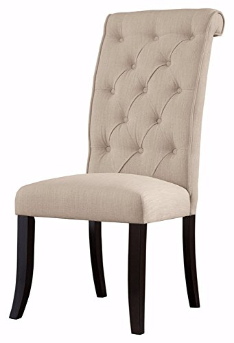 Ashley Furniture Signature Design - Tripton Dining Room Side Chair Set - Upholstered - Vintage Casual - Set of 2 - Linen (Upholstered Side Chairs)