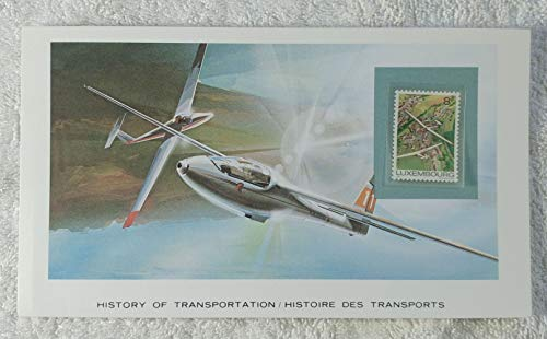 The Glider - Postage Stamp (Luxembourg, 1981) & Art Panel - The History of Transportation - Franklin Mint (Limited Edition, 1986) - Luxembourg Gliding Club, Soaring, Aircraft