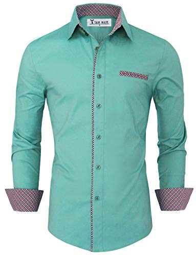 TAM Ware Mens Premium Casual Inner Contrast Dress Shirt TWNMS310S-1-MINT-S