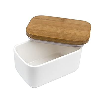 Arswin Porcelain Butter Dish with Bamboo Lid, Butter Keeper and Container, Multi-Function Salt Box Seasoning Container, Heat Resistant Food Storage, Kitchen Storage & Organization